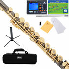 Mendini C Flute Black Nickel Plated 17 Key Open Hole, B Foot+Tuner+Stand+Case