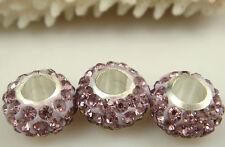 3PCS Listing High Quality CZ Crystals Beads fit European Charm Bracelet free ab4