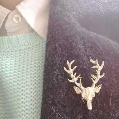 1pc Gold Plated XMAS Elk Deer Head Brooches Collar Neck Lapel Pins Jewelry Jf637