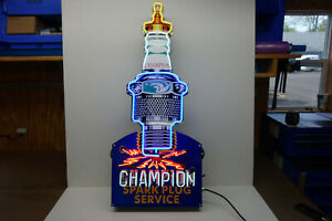 "CHAMPION SPARK PLUG NEON Dealer sign. Steel Enamel neon ART. HUGE 45"" by 19.5"""