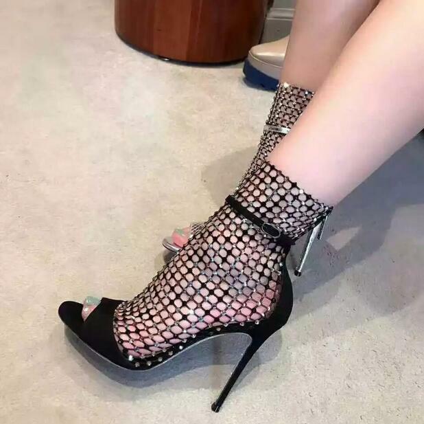 Summer Women shoes Peep-toe High Stiletto Heel Rhinestone Back Zip Roman Sandals
