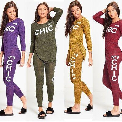 Womens Ladies chic no 9 Slogan Belly Crop Top Leggings 2 Piece Set Tracksuit