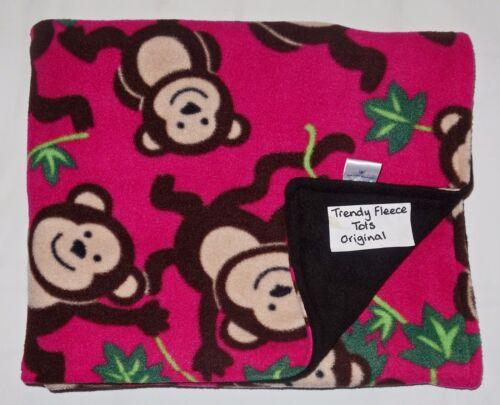 baby BLANKET monkeys COT PUSHCHAIR BUGGY fleece reversible