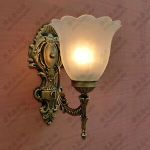 Traditional antique iron scrolled sconce wall lights shade - Traditional bathroom wall sconces ...