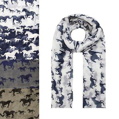 NEW Animal Horse Pony Print Fashion Scarf Wrap Chiffon Stole Soft Large Light UK