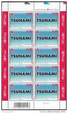Belgium**TSUNAMI SOUTH EAST ASIA-SEISMIC SEA WAVE-SHEET 10vals-2005-MNH
