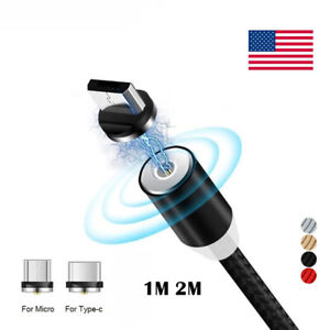 360-Magnetic-Type-C-Micro-USB-Charging-Charger-1m-2m-Cable-Adapter-For-Android