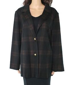 Ming Wang Women's Jacket Black Size 2X Plus Button Front Plaid $355 #364