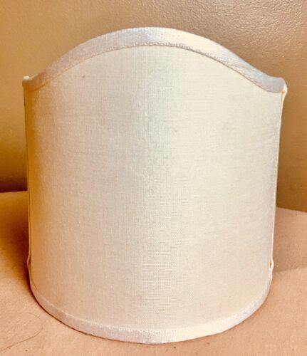 "Rare Unique Beige Tan Silk Wall Sconce Shield Fabric Shade 6"" Tall x 6 1//8"" Wide"