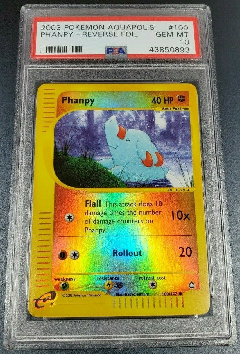 Pokemon PSA 10 Phanpy Reverse Holo Aquapolis Gem Mint 100 147