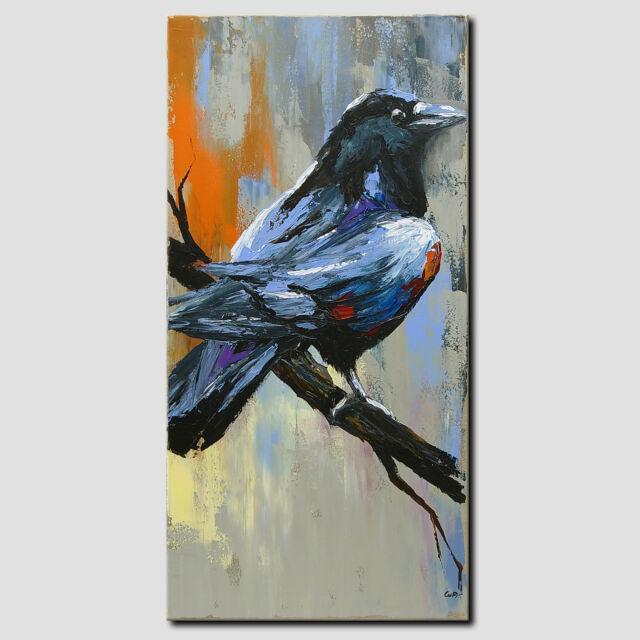 NOVAARTE Acryl Gemälde Abstrakt Malerei Rabe Bild Kunst Modern Leinwand ORIGINAL