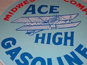 VINTAGE-MIDWEST-OIL-COMPANY-amp-ACE-HIGH-GAS-11-3-4-034-PORCELAIN-METAL-GASOLINE-SIGN