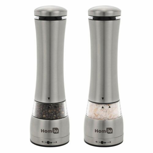 Homiu-électroniques lumineuses en acier inoxydable Meuleuse Lot Salt /& Pepper Mill