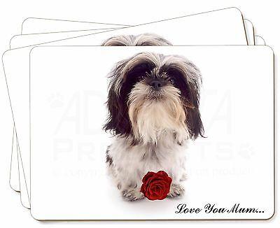 Shih Tzu Puppy Image Black Leather Keyring in Gift Box