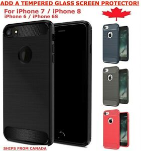 For iPhone 7 8 Plus 6 6S SE 2020 Carbon Fibre Cover TPU Heavy Duty Soft Case