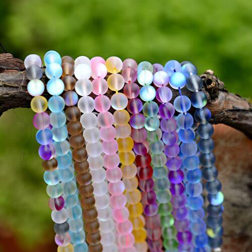"""Mix 8MM Mystic Aura Quartz Gemstone Titanium Aqua Coin Loose Beads 15/"""" Strand"""