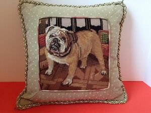 English Bulldog Throw Pillow Embroidery Stitched 13 X 13 Lovely Ebay
