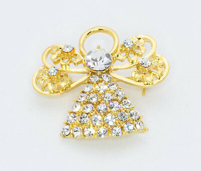 Angel Brooch Pin Gold Finish Clear Crystals Coat Pendant