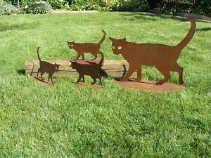 Katze-Katzen-rostig-Rost-Katzenfamilie-Edelrost-Rost-Deko-Garten-Haustier
