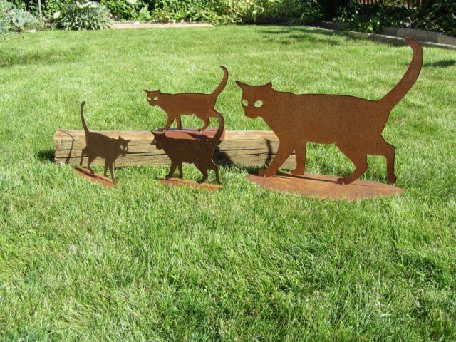Katze Rost Katzenfamilie Edelrost Metall Gartendekoration  Rost Deko Garten