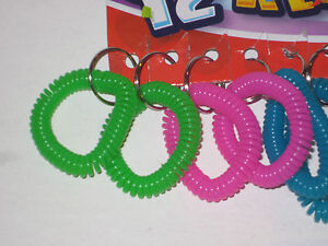 """TWO 2 Spiral Coil Bracelet Coil Spring Spiral 2 1// 2/"""" Wrist Band Key Chain"""
