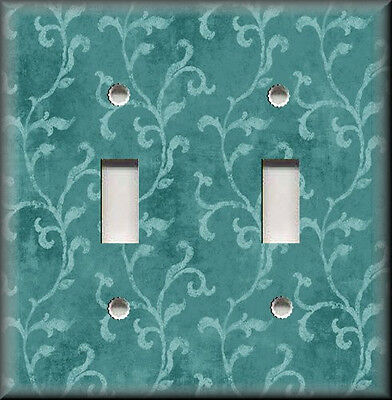 Metal Light Switch Plate Cover - Tuscan Decor Vines Design Teal Home Decor