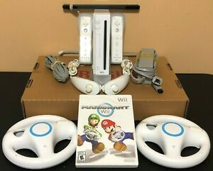 Nintendo-Wii-Console-System-Bundle-Mario-Kart-2-Wheels-2-Controllers-Clean