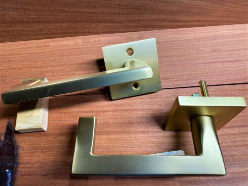 Emtek Modern Argos Lever Door Set RH privacy Brushed Brass square rosette