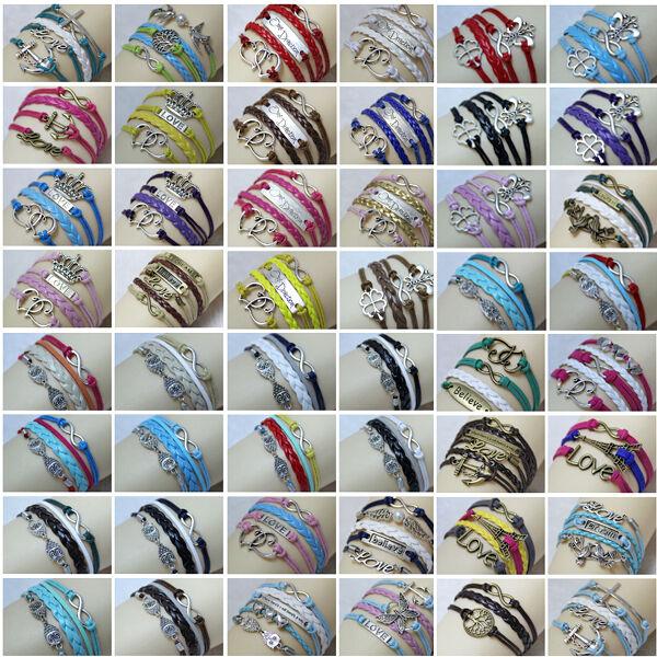 NEW DIY Jewelry fashion lots Style Leather Cute Infinity Charm Bracelet Many Sty