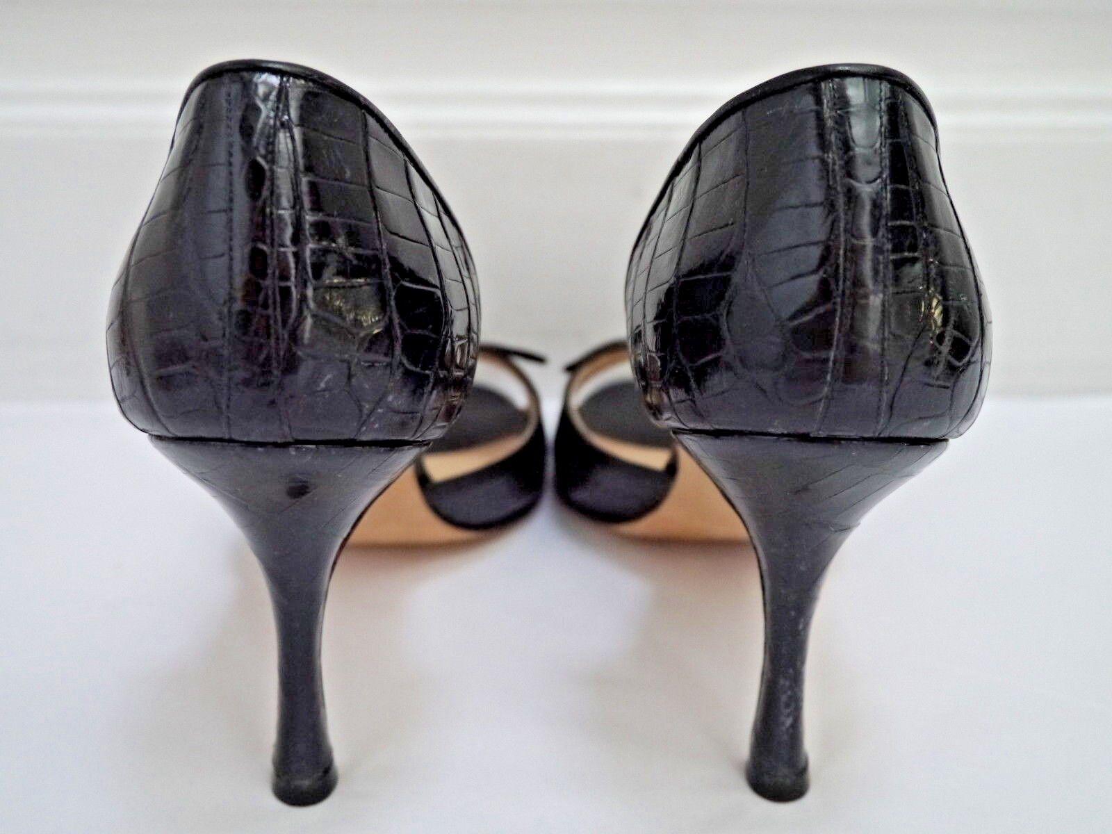 NEW MANOLO BLAHNIK  2750 2750 2750 black alligator crocodile open-toe heels Italian 38.5 fdafcc