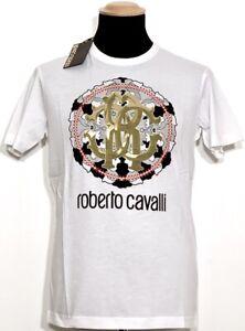 ROBERTO CAVALLI Herren T-Shirt weiß white Print Mod. A222 NEU ETIKETT 160€ OVP!