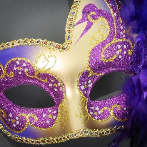Feather Venetian Mardi Gras Masquerade Mask for Women Purple//Gold M6131