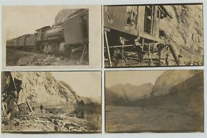 Rocky-Mountains-US-WWI-Troop-Train-Wreck-Real-Photo-Postcards-RPPC