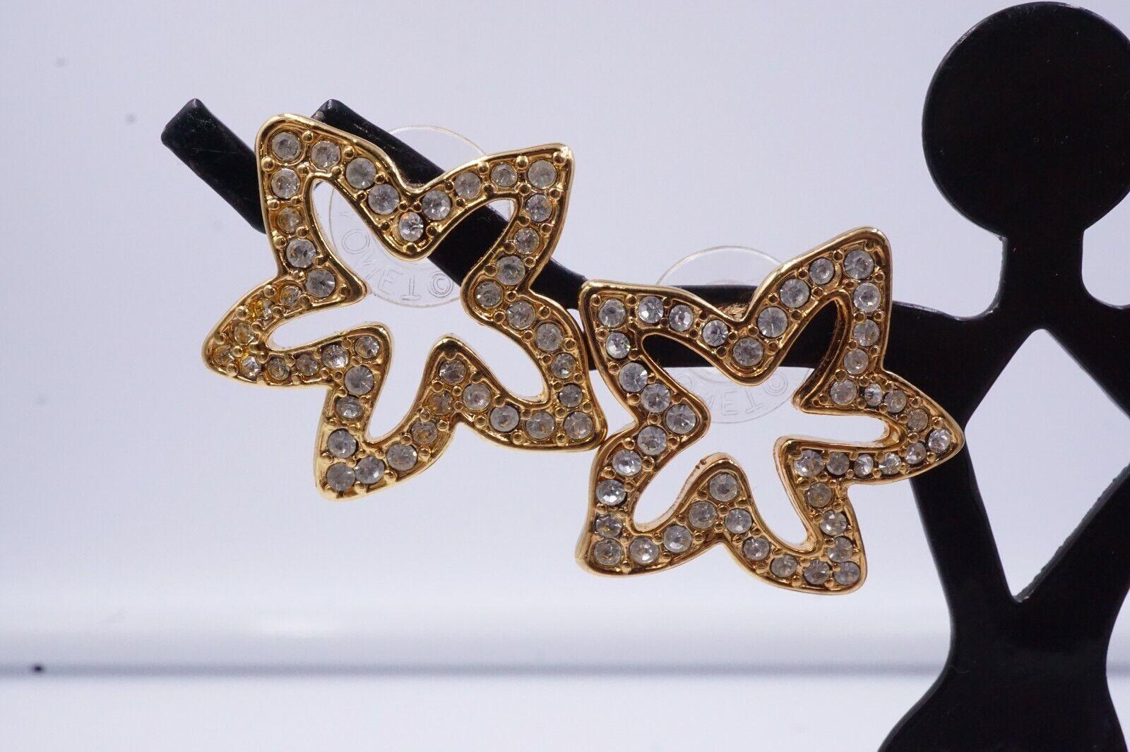 NOS Vintage MONET Gold Tone  STAR RHINESTONE Stud… - image 3