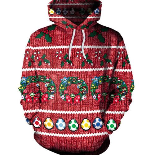 Hommes Noël 3D Imprimé graphique de Noël Sweat à Capuche Sweat Pull Pull Tops shirt