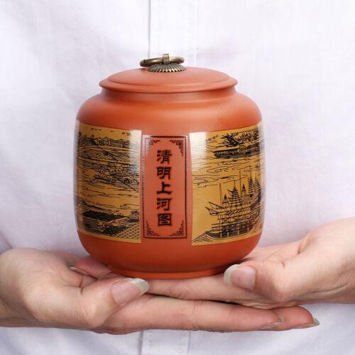 Ceramic Tea Canister Purple Sand Household Sealed Caddy Coffee Jar Storage Box