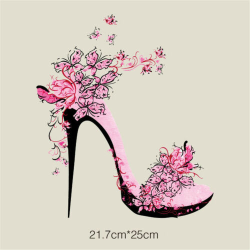 flower high heel ironing stickers clothes patches for appliques heat transfer PB
