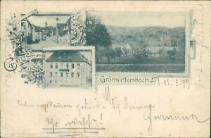 Ansichtskarte Grünwettersbach 1899 Karlsruhe Baden Gasthaus  (Nr.975)