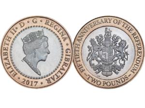 New-RARE-Uncirculated-Gibraltar-2017-2-POUND-coin-50th-Anniversary-REFERENDUM