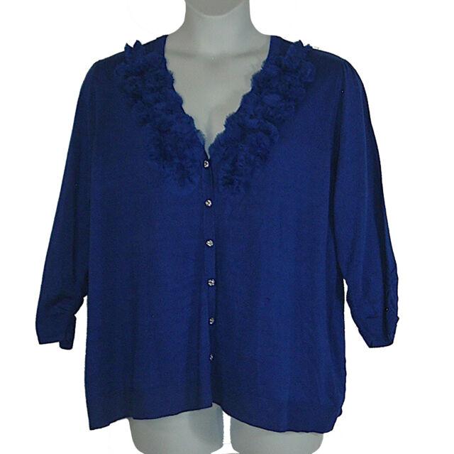 Plus Size Cardigan 22/24W New Sapphire Blue V-Neck Spring Cardigan Bust 51