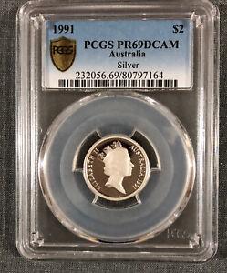Rare-1991-2-Dollar-Coin-Silver-Proof-Coin-Australian-Coin-PCGS-PR69DCAM