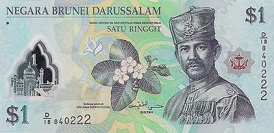 Brunei P35, 1 Dollar, Sultan Hassan al-Bolkiah, flower / mosque POLYMER UNC