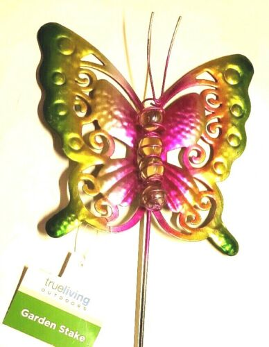 """Garden Stake Butterfly Decor Fuchia Green Metal Etched Out Wings Marbles 21/"""" New"""