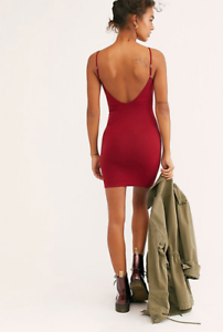 NEW-Free-People-Intimately-Seamless-Low-Back-Slip-Dress-Red-Sz-XS-S-M-L-39-73