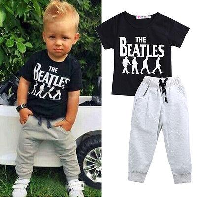 Summer 2PCS Baby Boy Kids Clothes Outfits Gentleman Casual T-shirt+ Pants 1-3T