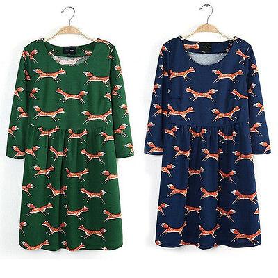 Fox dress size 12-14 uk, retro, vintage, animals, cute, kawaii, green, blue