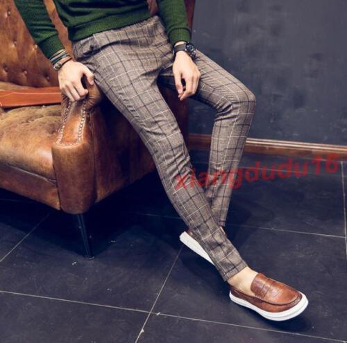 Vintage Hommes Plaid Formal Jogger Slim Fit Pantalons Pantalon Crayon Pantalon Loisirs Neuf