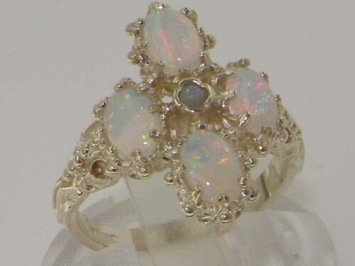 Heavy Weight Victorian Design Solid Sterling Silver Natural Very Fiery Opal Ring