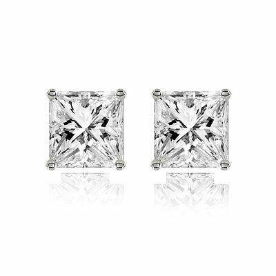 The Jewelbox Stainless Steel Ear Stud Pair Earring Square Princess Cut Cz