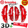 RED Brembo Style Universal Brake Caliper Covers + GLUE 4PCS Front & Rear 3D